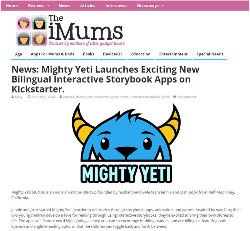 Mighty Yeti Kickstarter article from iMums